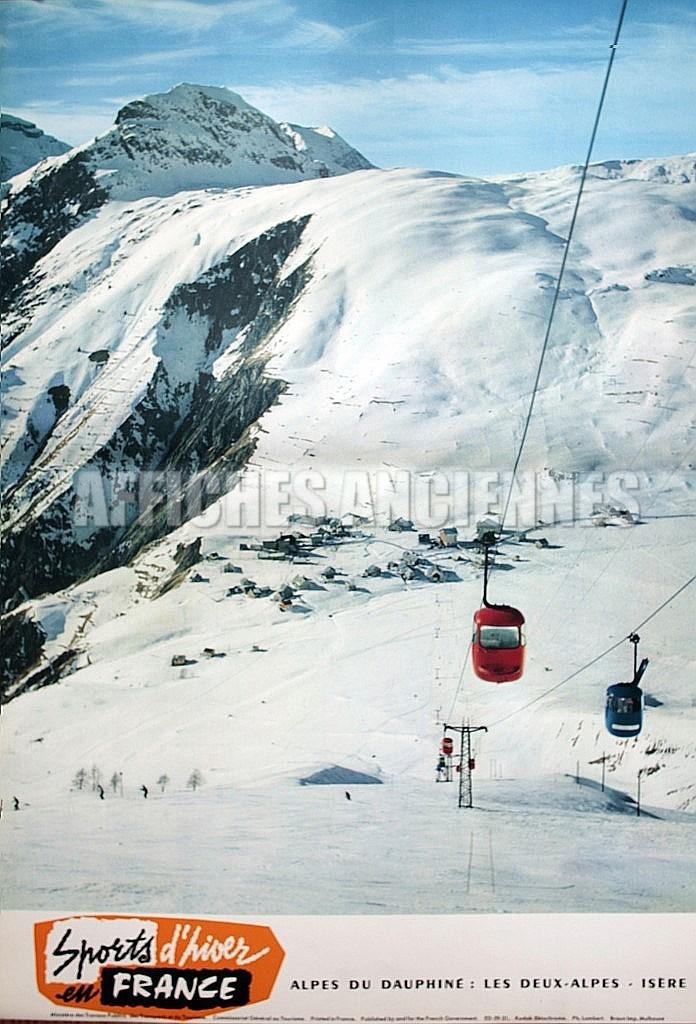 France alpes du dauphine sports d 39 hiver en france telepherique affiche originale format 40x60 cm - Office du tourisme deux alpes ...