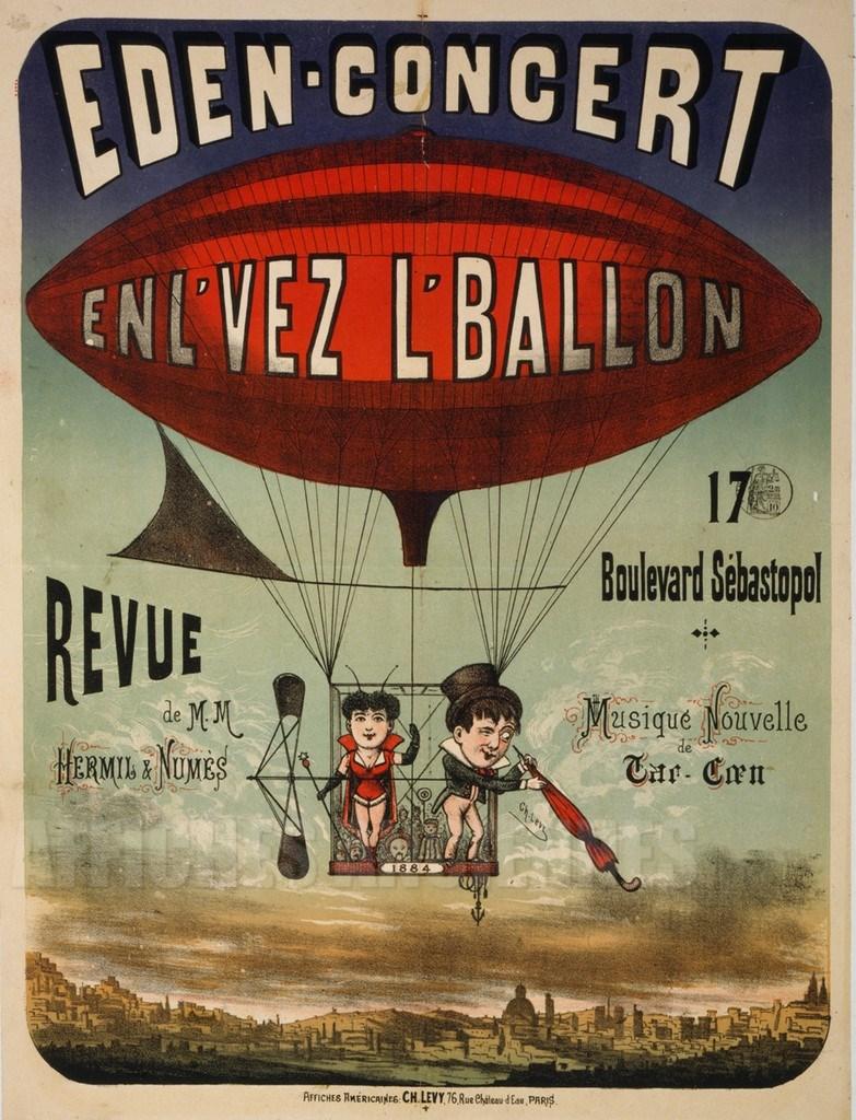 reproduction affiche ancienne montgolfiere eden concert. Black Bedroom Furniture Sets. Home Design Ideas