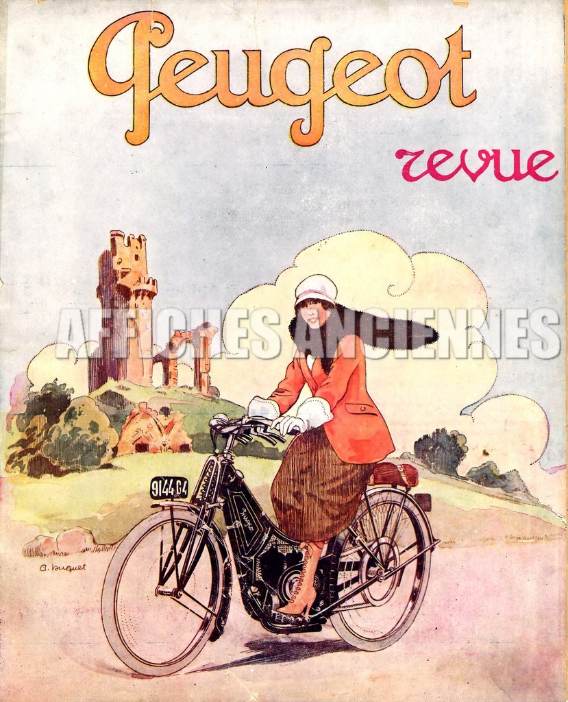 reproduction affiche ancienne velo bicyclette peugeot 1925. Black Bedroom Furniture Sets. Home Design Ideas