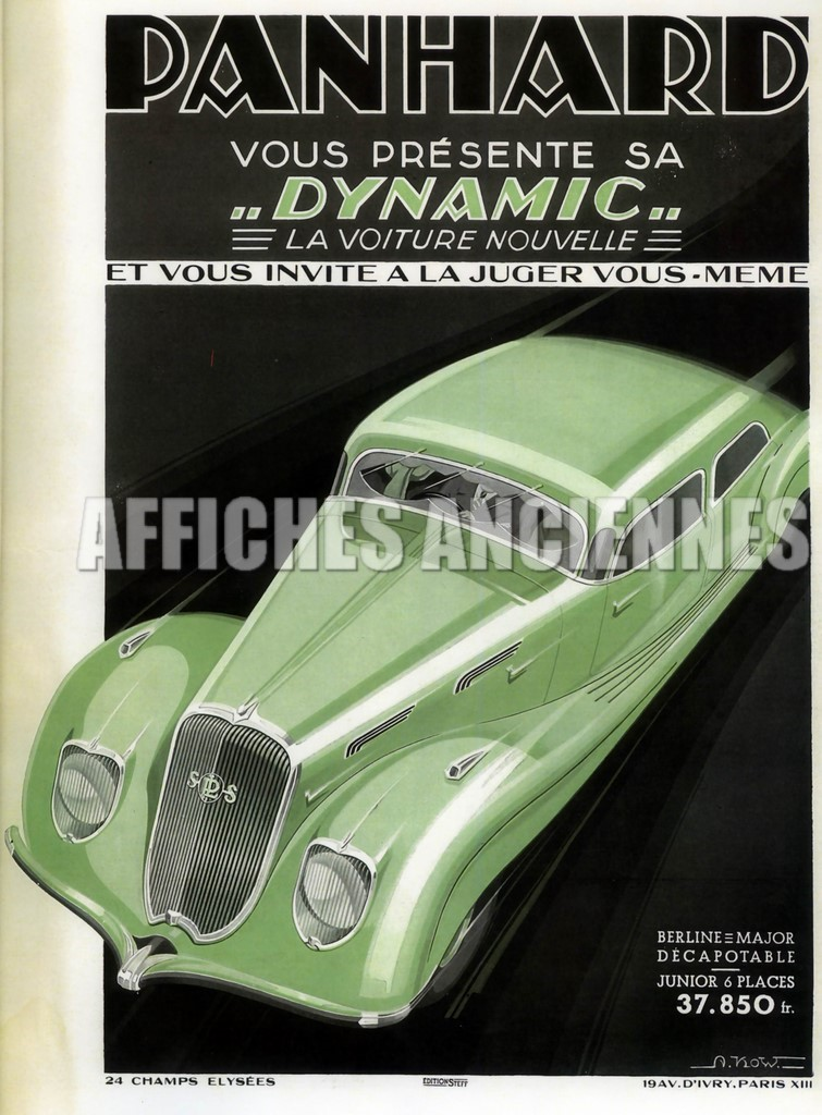 reproduction affiche ancienne voiture panhard dynamic. Black Bedroom Furniture Sets. Home Design Ideas