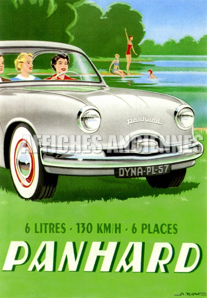 reproduction affiche ancienne voiture panhard dyna. Black Bedroom Furniture Sets. Home Design Ideas
