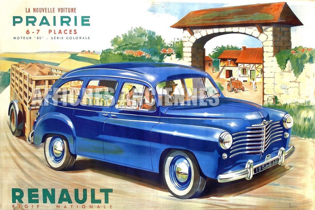 reproduction affiche ancienne renault prairie. Black Bedroom Furniture Sets. Home Design Ideas