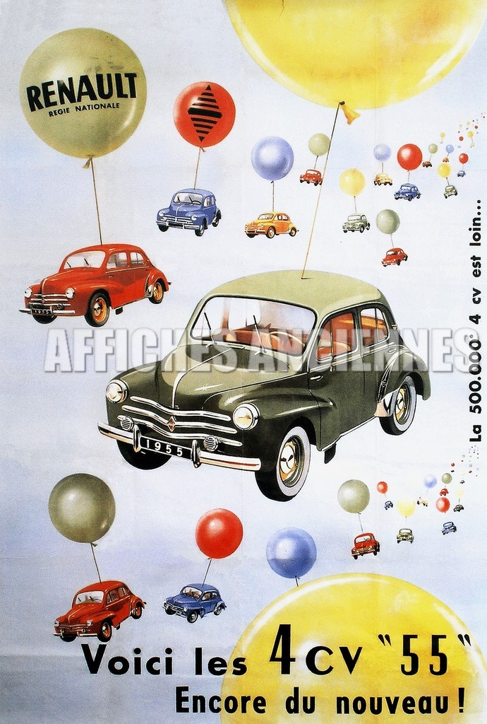 reproduction affiche ancienne automobile 4cv renault