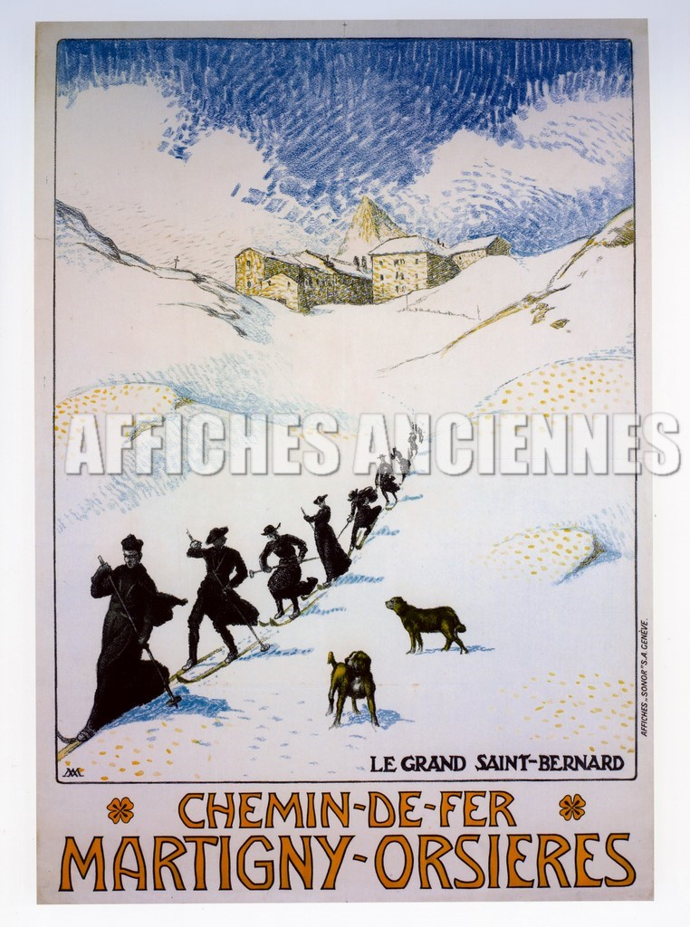 reproduction affiche ancienne chemin de fer martigny orsieres suisse. Black Bedroom Furniture Sets. Home Design Ideas