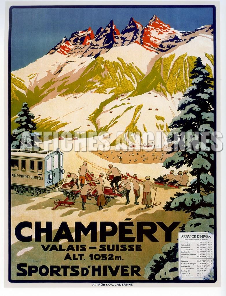 reproduction affiche ancienne champery suisse montagne ski. Black Bedroom Furniture Sets. Home Design Ideas