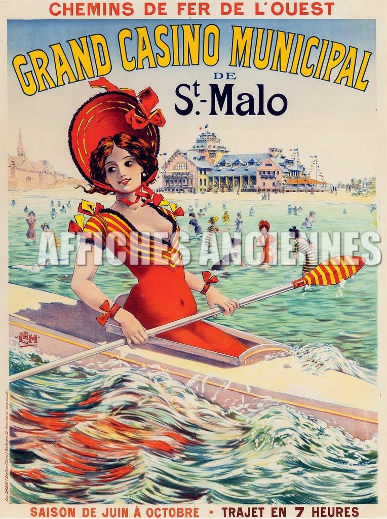 reproduction affiche ancienne saint malo bretagne kayak chapeau. Black Bedroom Furniture Sets. Home Design Ideas
