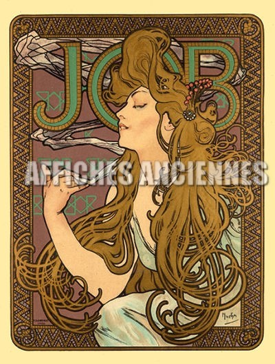 reproduction affiche ancienne mucha papier cigarette job art nouveau 1900. Black Bedroom Furniture Sets. Home Design Ideas