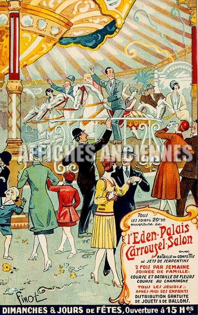 reproduction affiche ancienne danse carrousel eden palais paris chevaux de bois art d co ann es. Black Bedroom Furniture Sets. Home Design Ideas