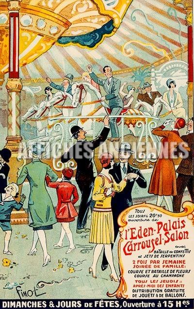 reproduction affiche ancienne danse carrousel eden palais paris chevaux de bois art d co ann es. Black Bedroom Furniture Sets. Home Design Ideas