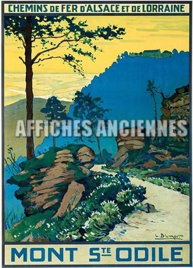 reproduction affiche ancienne mont sainte odile chemin de fer d 39 alsace et de lorraine. Black Bedroom Furniture Sets. Home Design Ideas