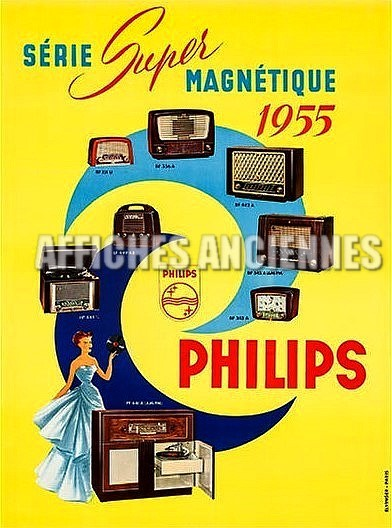 reproduction affiche ancienne poste radio philips 1955 annees 60. Black Bedroom Furniture Sets. Home Design Ideas