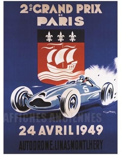 2 me grand prix de paris course automobile vintage poster bank th me automobiles. Black Bedroom Furniture Sets. Home Design Ideas