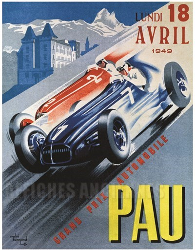 affiche grand prix de pau vintage poster bank th me automobiles reproduction num rique d. Black Bedroom Furniture Sets. Home Design Ideas