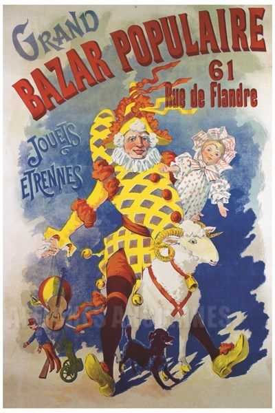 grand bazar populaire rue de flandre paris vintage poster bank th me enfants reproduction. Black Bedroom Furniture Sets. Home Design Ideas