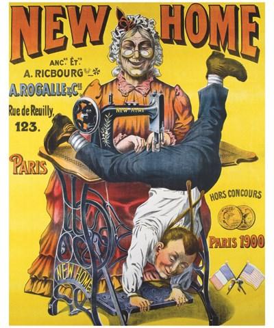 new home machine coudre vintage poster bank th me mode reproduction num rique d 39 affiche. Black Bedroom Furniture Sets. Home Design Ideas