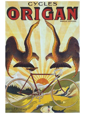 reproduction affiche ancienne cycles origan vintage poster bank th me sports reproduction. Black Bedroom Furniture Sets. Home Design Ideas