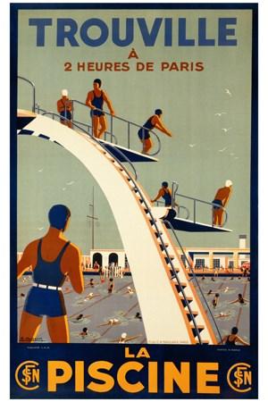 trouville la piscine vintage poster bank th me mer bateaux paquebots reproduction. Black Bedroom Furniture Sets. Home Design Ideas