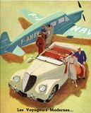 reproduction affiche ancienne automobile avion