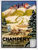 reproduction affiche ancienne champery suisse ski
